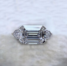 2.73 Ct East West Emerald Cut Moissanite Engagement Ring 925 Sterling Silver