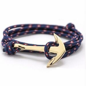 Anchor Hook Rope Mulilayer Bracelet Nautical Wrap Around Bangle Wristband Men UK