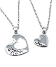 *UK* 925 SILVER PLT 'MOTHER / SON' HEART NECKLACE CHILD BEST FRIENDS MUM LOVE