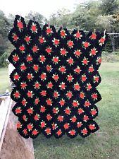 Handmade Knitted/Crocheted Blanket Afghan Raised Roses Red White Green - Heavy