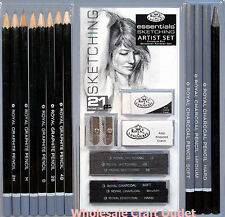 21 pc Artist Sketching Set w/ Drawing Pencils, Charcoal Sticks ,Erasers & More!