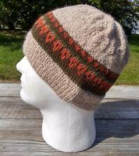 Fair Isle Beanie Hat Hand Knit Alpaca Wool Nordic Viking Skully Cap Mens Womens