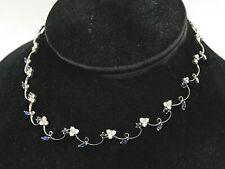 18K white gold 5.20CT VS diamond & Blue sapphire formal necklace