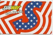 Subway Restaurant Patriotic Red White Blue Stripes 2013 Gift Card NO VALUE