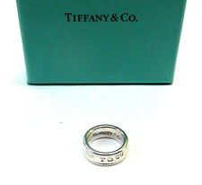 1997 TIFFANY & Co 925 T & CO 1837 STERLING Silver Concave BAND Ring+Box sz 4.25