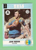 1977  PARRAMATTA EELS  SCANLENS RUGBY LEAGUE CARD   #116 JOHN MORAN