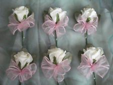 6 x ivory and pink rose buttonholes
