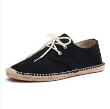 Mens Casual Flats Lace up Espadrilles Canvas Plimsolls Sneakers Driving Shoes ss