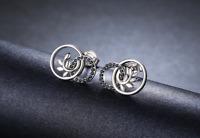 925 Sterling Silver Stud Earrings Black Spinel Zircon Small Delicate