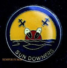 VF-111 SUNDOWNERS HAT LAPEL PIN WW 2 US NAVY USS CAG TOP GUN F-14 F4 F8 CVA WOW