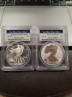 2013-W Silver Eagle Reverse Proof & Enhanced PCGS MS69 & PR69 Two Coin Set