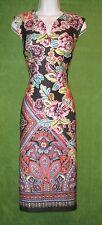 Beige by eci Black Multicolor Floral Stretch Knit VNeck Work Social Dress 14 $98