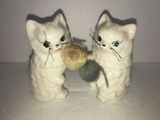 Vintage Enesco White Cats With Yarn Salt and Pepper Shakers