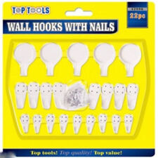 Marksman Assorted Wall Hooks With Nails 22pc Picture Frames Clock Mirror Hanging