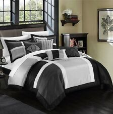 Queen Size 7-Piece Comforter Set Bed in a Bag Bedding Black Gray White Bedspread