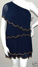 ASOS Navy Blue One Shoulder Gold Beaded Grecian Dress - Size 16 - New!