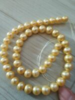"""stunning 20"""" 9-10MM SOUTH SEA NATURAL GOLD  PEARL NECKLACE 14K GOLD CLASP"""
