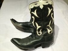 Vintage AMMONS COWBOY WESTERN BOOTS Black & White w/ Stitching & Nice Detailing