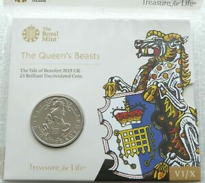 2019 Royal Mint Queens Beasts Yale of Beaufort BU £5 Five Pound Coin Pack Sealed