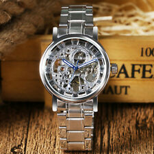 WINNER Cool Stainless Steel Skeleton Automatic Mechanical Men Dress Wrist Watch