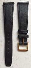 Genuine Omega Black Leather Watch Band Strap 20mm Gold Tone Buckle