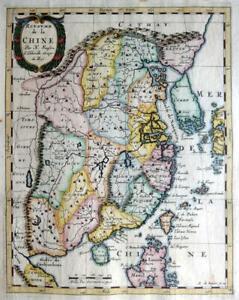 CHINA CHINE KOREA  BY NICOLAS SANSON c1682 GENUINE ANTIQUE COPPER ENGRAVED MAP