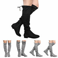 NEW WOMENS GIRLS KIDS LOW HEEL KNEE STRETCH LADIES SHOES BOOTS SIZE UK 10-5