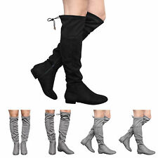 5e10f6072dfb NEW WOMENS LADIES GIRLS KIDS LOW HEEL KNEE STRETCH BOOTS SIZE UK 10-5