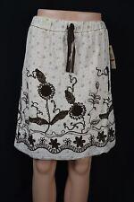 Studio M Women XS Ivory Brown Embroidered Flower Print Lined Elastic Waist Skirt
