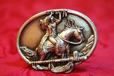 1984 Siskiyou Belt Buckle Co. Williams Oregon Tribute Chief on Horse Tomahawk