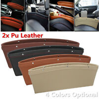 Pair Catch Catcher PU Leather Car Seat Gap Slit Pocket Storage Organizer Box
