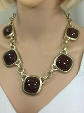 CHICO'S BROWN STONE BLACK LABEL NECKLACE NWT retail 109.00