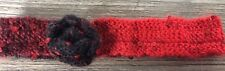 Hand Knitted Hairband with Flower: Red & Black with Sequins, by KnittedNature