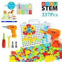 237 Pieces Electric DIY Drill Educational Set, STEM Learning Toys, 3D