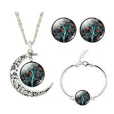 Colourful Autumn Tree Jewellery Set Stud Earrings Moon Necklace Bracelet S891