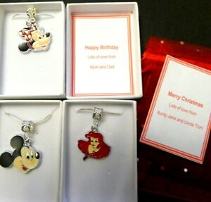 Minnie Mouse Ariel or Mickey Mouse Charm Necklaces Christmas or Birthday Gift