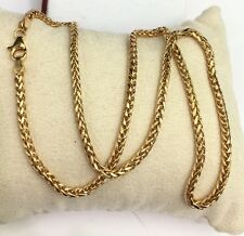 "18k Solid Yellow Gold Unisex Wheat Chain/Necklace Dimond Cut. 22"". 7.35Grams"