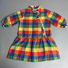 Vintage 70s Sears Girls Size 6X Rainbow Colors Plaid Drop Waist School Dress