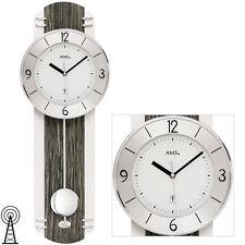 AMS 5294 Funkuhr Funk mit Pendel Wanduhr Uhren anthrazit Holzgehäuse Neu