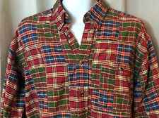 ORVIS Green Blue Red Plaid Patchwork Button Down Shirt Mens Large L