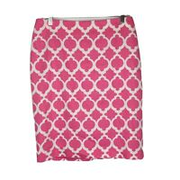 Talbots Womens Sz 8 Pink White Geometric Textured Pencil Dress Skirt I10