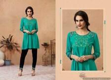 Women 2pc Pakistani EMBROIDERED Turquoise Kurti Kurta Top with EMBROIDERY Pant