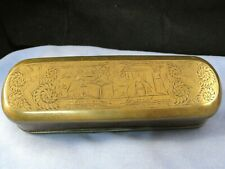 More details for antique dutch engraved brass & copper snuff tobacco smoking box tin mid 1700s
