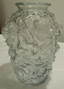 Early 1900's Goofus Clear Glass Rose Embossed Pickle Jar/Vase m