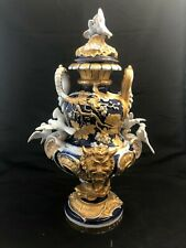 """Large Early Meissen Cobalt Blue, Gold and White Covered Urn with Birds 18"""" Tall"""