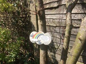 Personalised Rainbow Bridge Stone Memorial for Rabbit for Garden / Outside.