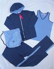 4-Pc Belly Basics Womens Size M Yoga Maternity Clothing Blue Hoodie Pants Active