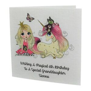 PERSONALISED Princess & Unicorn Girls / Kids / Childrens Birthday Card