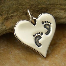 925 Sterling Silver Heart with Footprints Pendant for Necklace New Mom Baby 1407