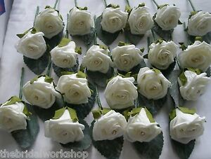 12 Wedding Flowers Rose and Diamante Buttonhole Corsage Groom Guest Best Man